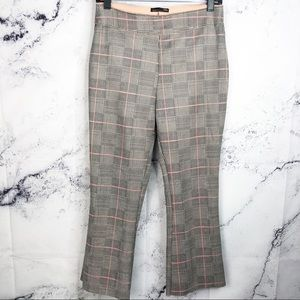 Zara Checked plaid faux suede cropped trousers M